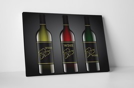 """Three Wine Bottles Kitchen Wall Art Gallery Wrapped Canvas. 30""""x20 or 20""""x16"""" - $44.50+"""