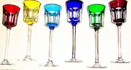 New Vintage Cristal de Sèvres T299 Segovie 6 Multi-Color Crystal Wine St... - $589.00