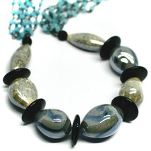 """NECKLACE BLACK, BLUE SPOTTED DROP OVAL MURANO GLASS 45cm 18"""", MADE IN ITALY image 2"""