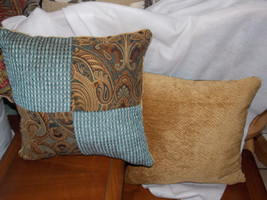 Pair of Turquoise Gold Paisley Patchwork Print Throw Pillows  16 x 16 - $49.95