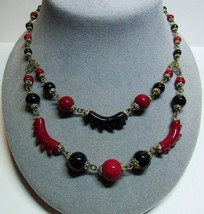 Vtg Deco Czechoslovakia Czech Red Maroon Black Glass 2 Strand Choker Necklace - $123.75