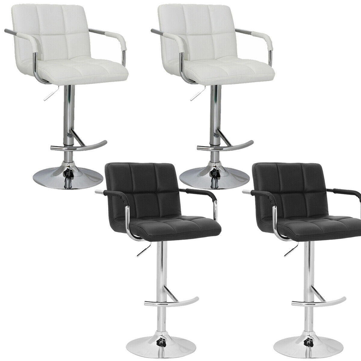 Set of 2 Adjustable Swivel Bar Stool PU Leather Hydraulic w/Armrest White/Black
