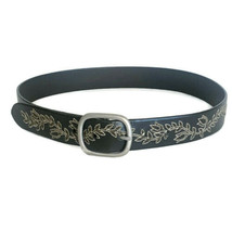 Embroidered Brown Leather Belt ~ Floral Vine - Size Small/Medium - $12.95