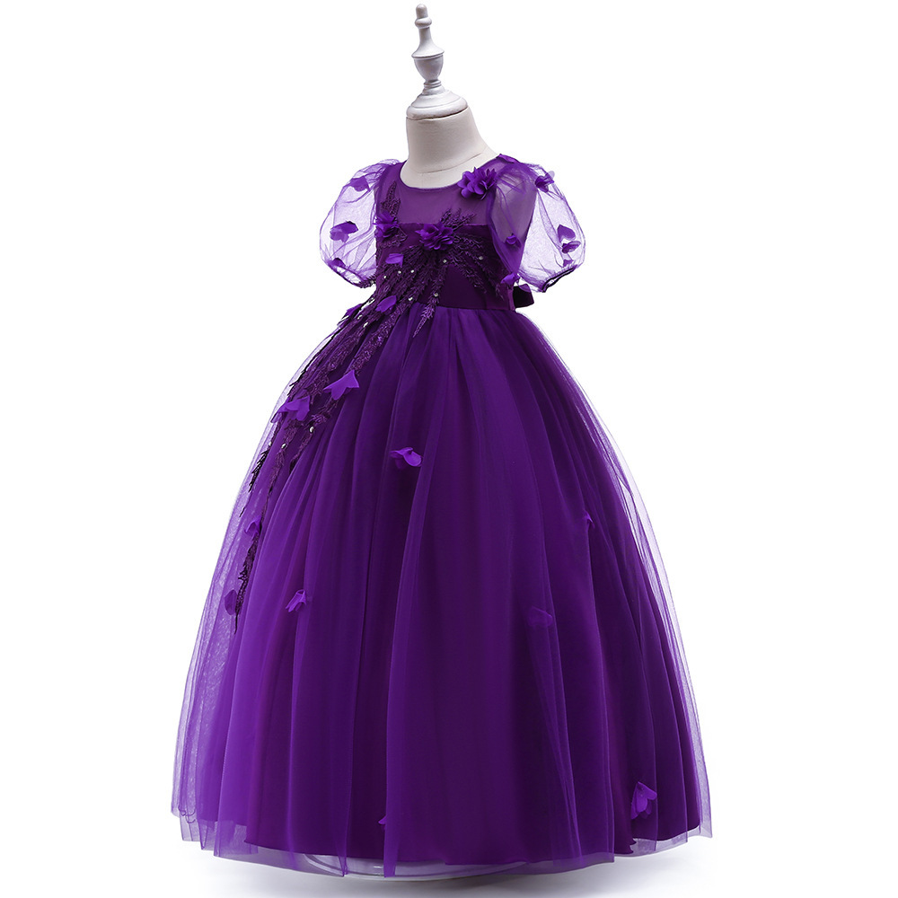 Sexy Purple  Tulle Lace Flower Girl Dress A Line Wedding Party Gowns A Line 2019 image 2