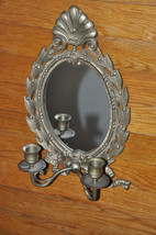 "Vintage Brass Wall Sconce with Mirror  Candle Holder Ornate 14"" Tall - $29.99"