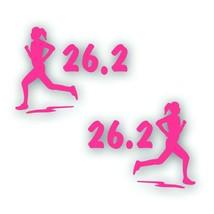 Marathon 26.2 GIRL WOMAN Decal bumper sticker PAIR Olympic mile runner PINK - $8.83