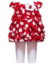 Rare Editions Little Girl 2T-6X Dot Print Cascade Ruffle Ladybug Flower Applique