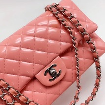 AUTHENTIC Chanel PINK PATENT QUILTED LEATHER MEDIUM Classic Double Flap Bag SHW image 5