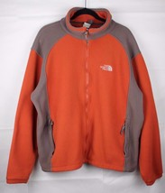 The North Face men's fleece jacket full zip long sleeve orange brown L/G - $21.21