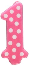 Oasis Supply 1st Birthday Candle for Baby Girls, Pink with White Polka D... - $5.99