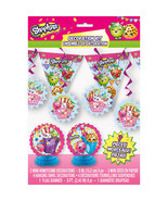Shopkins 7 pc Decor Decoration Kit Birthday Centerpiece Swirls Banner - $7.59