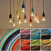 Twist Braided Fabric Flex Cable Vintage Colored Cord Electric Light Lamp... - £10.71 GBP