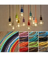 Twist Braided Fabric Flex Cable Vintage Colored Cord Electric Light Lamp... - £11.30 GBP