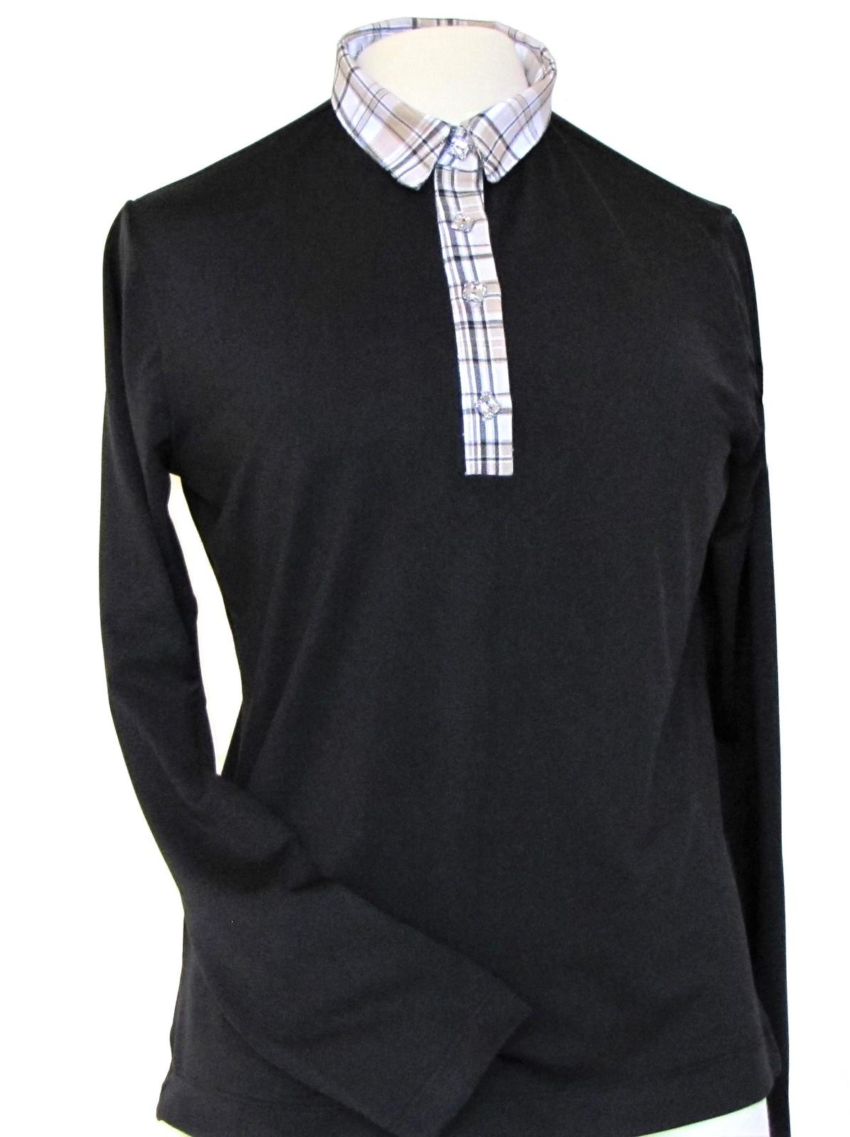Stylish Women's Golf & Resort Black Long Sleeve Collar Top, Swarovski Buttons