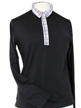Stylish Women's Golf & Resort Black Long Sleeve Collar Top, Swarovski Buttons  image 1