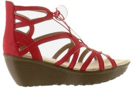 Skechers Lace-Up Wedges Terrace Red 8M NEW A304810 - $45.52