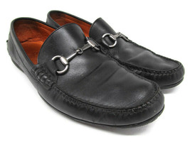 Peter Millar Mens Black Leather Moc Toe Horsebit Loafers Size US 8.5 M - $47.53