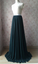 Dark Green Plus Size Maxi Chiffon Skirt Dark Green Bridesmaid Maxi Chiffon Skirt image 3