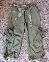 Miss Me army green cargo cinched capri pants size size 1 - $24.15