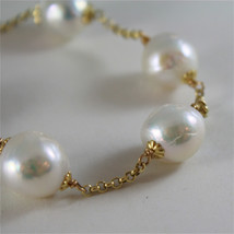 18K YELLOW GOLD BRACELET WITH VERY SHINY BAROQUE PEARLS 8.25 IN MADE IN ITALY image 2