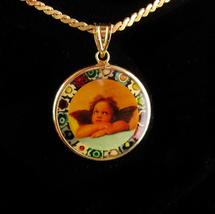 14kt Gold Angel necklace / Millefiori victorian cherub / vintage Fine Es... - $185.00