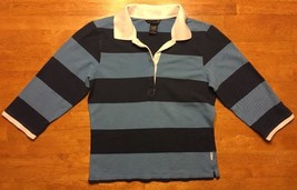 Abercrombie & Fitch Boy's Blue Striped 3/4 Sleeve Polo Shirt - Size: Large - $14.84