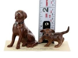 Hagen Renaker Dog & Puppy Labrador Retriever Chocolate Ceramic Figurine Set image 2