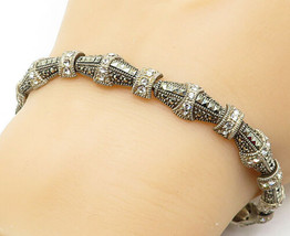 925 Sterling Silver - Vintage Marcasite Topaz Accented Chain Bracelet - ... - $54.05