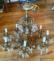 Vintage antique Rococo Brass and Crystal  Chandelier 8 Arm light fixture... - $499.99