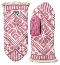 Hestra Womens Wool Mittens: Nordic Knit Winter Gloves, Light Rose/Off Wh... - $89.52