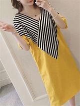 Maternity Dress Patchwork Color Block Stripes Batwing Sleeve V Neck Loose Dress image 2