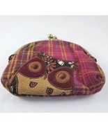 Karma Owl Coin Purse, Credit Card Holder, Plaid Coin Bag, Small Money Wa... - $23.76