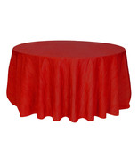 Crinkle Taffeta Red Table Cloth for Round Tables, Tablecloths for Weddings - $38.99