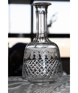 "Old Vintage Cut Crystal Glass Small Decanter Carafe no Stopper 6"" - $29.69"