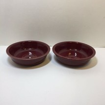 "2 Soup Cereal Bowls Coupe Burgundy Fiesta Homer Laughlin 7"" A - $14.50"