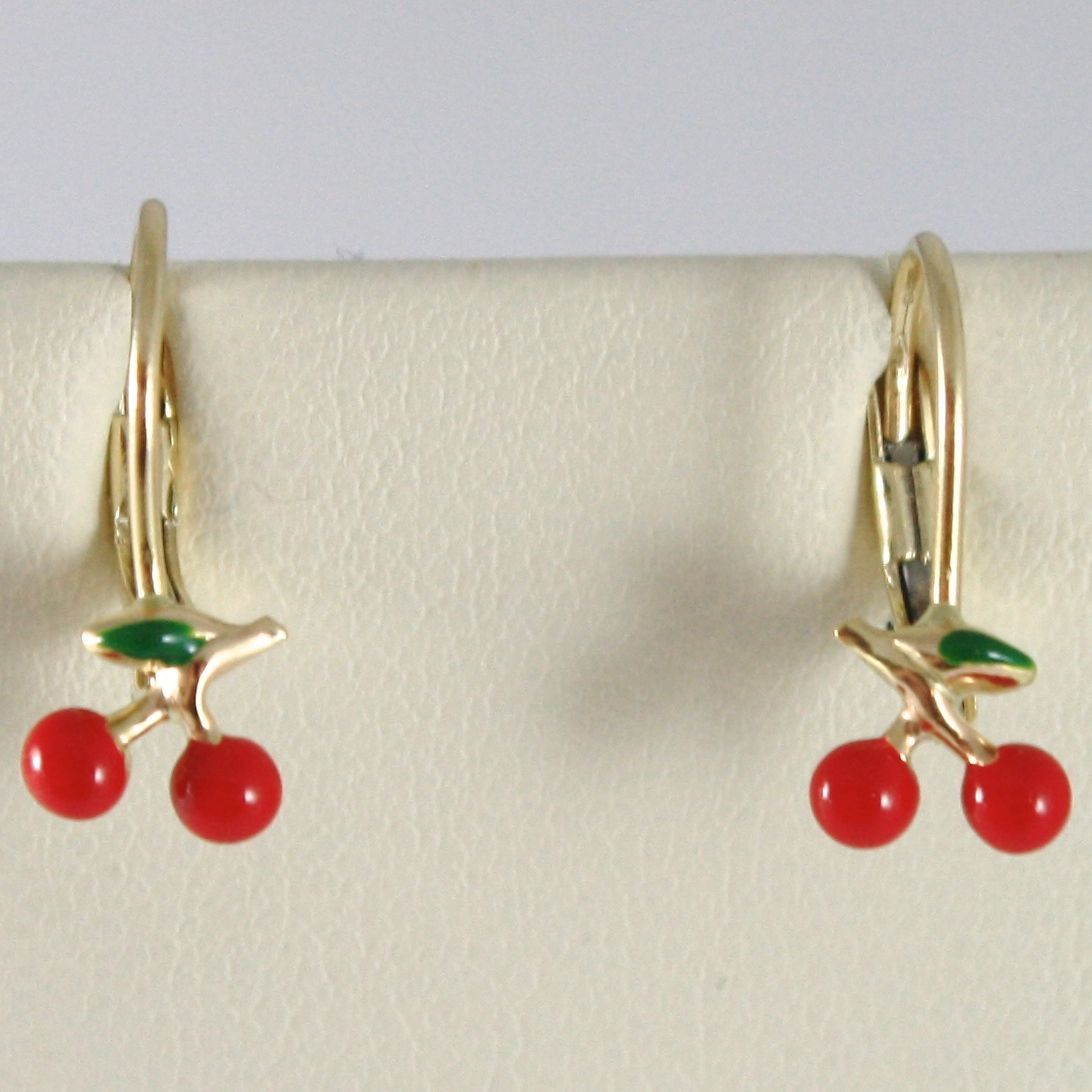 EARRINGS BABY GIRL YELLOW GOLD 750 18K HANGING,WITH CHERRIES GLAZED TILES,1.7 CM