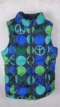 Girls Old Navy blue green dots peace signs puffer vest XL 14 16 fleece lined - $9.99