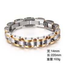22cm Stainless Steel Bike Chain Bracelet For Men Gold/Silver/Black 14mm ... - $35.45