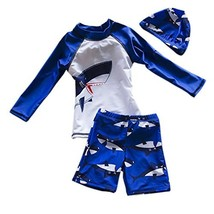 Baby Boys Kids 3-Pieces Shark Rashguard Swimsuit Long Sleeve Sun Protect... - $18.06