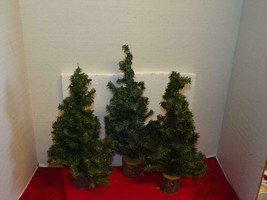 "Wood BASE-`THREE-14""TO 15"" Spruce TREES-GOES Well With Dept 56 & Other Villages - $11.76"