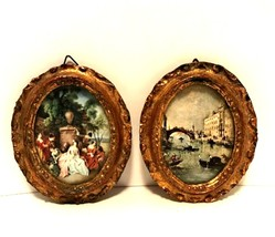 Victorian Gold Framed Pictures Two Small Prints Under Glass Made in Ital... - $34.64