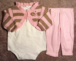 Girl's Size 3-6 M Months 3 Piece Pink/ Tan Stripe NWT Place Cardigan, Pants, Top - $20.00
