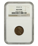 1914-D 1c NGC AU55 BN - Key Date - Lincoln Cent - Key Date - $1,852.70