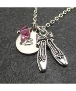 Customized Ballet Slippers Shoe Necklace with Swarovski Crystal Ballerin... - $19.99+