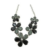 Vintage MCM Black Gray Flower Collar Necklace Faceted Acrylic w Rhinesto... - $18.50
