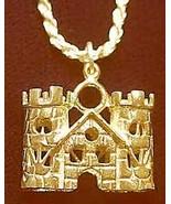 LOOK medieval Gold vermeil Queen King Castle Pendant Charm - $30.46