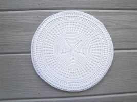 """Round Insulated Trivet with Hand Crocheted Cover 9 1/2"""" Vintage - $10.00"""