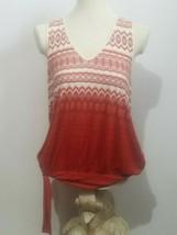 Anthropologie Deletta Women's Tank Top Size XL Tie Waist Keyhole Back Sc... - $21.33