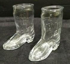 2 Jim Beam Shot Glasses Kentucky Bourbon Whiskey Cowboy Boot 1 1/2 Oz Vi... - $9.47