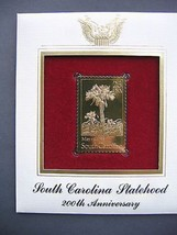 1988 South Carolina Statehood 200th replica 22kt Gold GOLDEN FDC Cover S... - $6.92